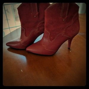 Mango suede red booties